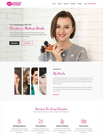design ecample of make-up artist screenshot