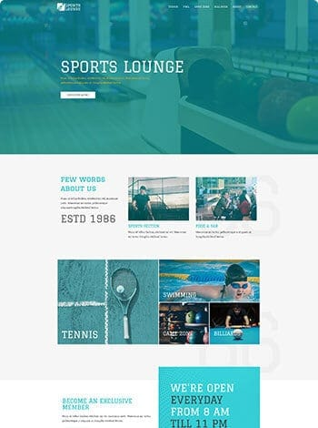 design example of sports lounge screenshot